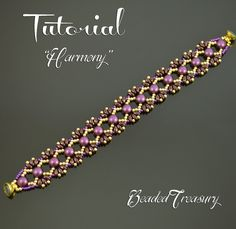 Harmony beadwoven bracelet tutorial. The digital tutorial is written in English language and includes: - information on materials and tools needed, - step by step instruction with photos and text. Technique: bead weaving. Skill level: Intermediate. Materials: 6mm two-hole cabochon