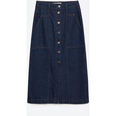 Zara Long Denim Skirt With Buttons (€36) ❤ liked on Polyvore featuring skirts, indigo, long blue skirt, zara skirt, blue skirt, long button skirt and ankle length skirt