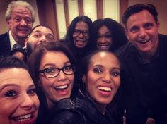 Katie Lowes, Bellamy Young, Jeff Perry, Guillermo Diaz, Judy Smith, Shonda Rhimes, Kerry Washington, and Tony Goldwyn