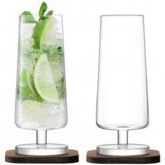 City Bar Mixer Glass & Walnut Coaster x 2