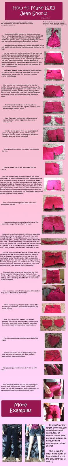How to Make BJD Jean Shorts by RodianAngel.deviantart.com on @deviantART