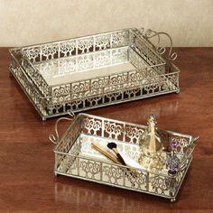 Kaisa Mirrored Vanity Tray Set