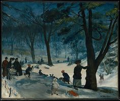 Central Park, Winter - William James Glackens, ca. 1905. The Metropolitan Museum of Art, New York. George A. Hearn Fund, 1921 (21.164) #kids #metkids