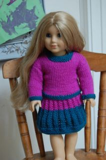 Knit pattern american girl doll classic suit - sweater and skirt