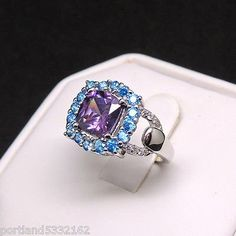 Beautiful Purple and Blue Ring Genuine 925 Sterling Silver Size 8 D1