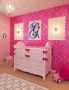 Hot Pink and Navy Monogram Nursery - such a chic look! Shop this monogram by clicking.