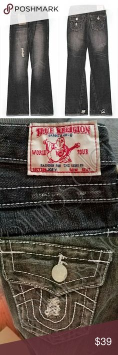 """NWT True Religion Distressed Black Joey Jeans New with tags. Distressed black """"Joey"""" jeans by True Religion. 98% Cotton, 2% Spandex. Approx. 33"""" inseam. Size 24 waist.  I'm also selling the vintage Vivienne Tam Buddha top in my closet. True Religion Jeans Boot Cut"""
