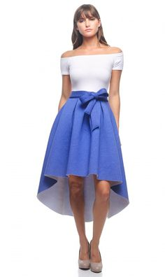 Off The Shoulder Belted High-Low Scuba Skirt Dress in Heather Blue