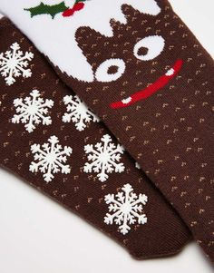 Image 2 of Urban Eccentric Christmas Pudding Slipper Socks