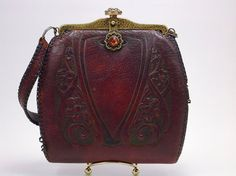 Arts and Crafts Circa 1920 tooled leather purse by MidCenturyMarfa