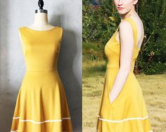 COQUETTE MUSTARD - Muted yellow dress with pockets // flared circle skirt // ivory crochet // bridesmaid dress // vintage inspired // day
