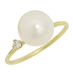 Sweet Pea Jewellery - Large Pearl and Diamond Ring