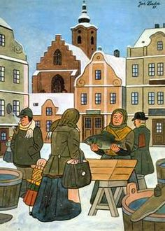 "Czech Christmas illustration by Josef Lada. ""The Fish Market"". Buying carp for the traditional Christmas dinner. Carp and homemade potato salad. Illustrations, Illustration Art, Illustration Children, Traditional Christmas Dinner, Arte Popular, Christmas Illustration, Naive Art, Czech Republic, Prague"