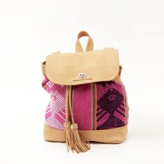 The Inca Backpack & shoulder bag . New color, handmade from handwoven Ecuadorian blanket and leather.