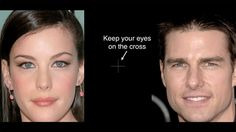 Stare at the cross. What's wrong with these celebrities' faces? | 23 Totally Mind-Shattering Optical Illusions