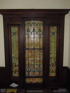 Restoration to stained glass door built 1890s. Art Glass Creations LLC St. Louis, MO