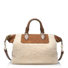suede and shearling satchel for weekend get-aways this winter