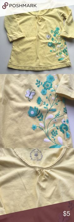 Pumpkin Patch tee Long sleeve yellow tee with butterfly and floral design. Gently worn, good condition Pumpkin Patch Shirts & Tops Tees - Long Sleeve