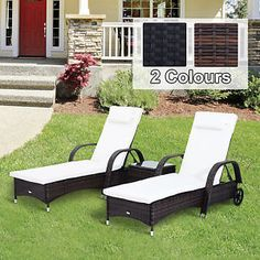Outsunny Garden Rattan Furniture 3 PC Sun Lounger Recliner Bed Chair Set with Side Table Patio Outdoor Wicker - - Garden and Outdoor Luxury Garden Furniture, Rattan Furniture, Outdoor Furniture, Outdoor Decor, Rattan Sun Loungers, Outdoor Loungers, Conservatories For Sale, Double Sun Lounger, Bed Table