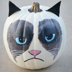 Grumpy Cat Pumpkin DIY. Angel is my one out of 3 others, this week to get a shout out. In return, I'm going to repin this awesome pumpkin design. Congrats Angel. EVERYONE WHO IS READING THIS, GO CHECK OUT ANGEL HANSON. Check back next week to see who my next winners are!                      Lots Of Love,    	  			 	            Hailey