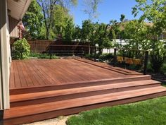 DeckWise Ipe Oil enhances the beauty of your hardwood deck and protects it from damaging sun, water, mold and mildew at the same time with Ipe Oil Hardwood Deck Finish. This low-odor ipe oil formula comes in a natural transparent tone. Backyard Patio Designs, Backyard Landscaping, Backyard Decks, Low Deck Designs, Landscaping Around Deck, Backyard Chickens, Deck Finishes, Hardwood Decking, Ipe Decking