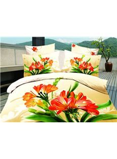 Bright Yellow Stone With Flowers 4 Pieces Bedding Sets