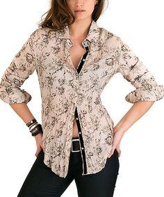 Cino Beige Floral Textured Button-Up - Women   zulily