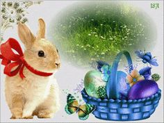 Easter Art, Easter Eggs, Fete Pascal, Happy Easter Gif, Easter Bunny Pictures, Easter Paintings, Holiday Gif, Easter Wallpaper, Easter Wishes