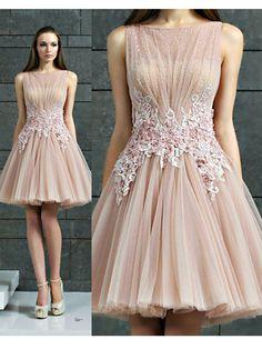 A-line+Bateau+Knee-length+Tulle+Cocktail+Dresses/Short+Prom+Dress#+ZP364