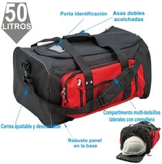 Bolsa Holdall Kitbag Negra/Roja Gym Bag, Bags, Zippers, Red Black, Work Clothes, Suitcases, Purses, Duffle Bags, Totes
