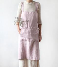 Rose Pinafore Stone Washed Linen Apron by LinenTales on Etsy