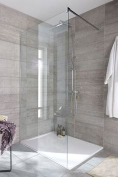 bathroom floor in dark grey with chevron pattern shower wall tile and glass doors. Bathroom Renos, Bathroom Layout, Modern Bathroom Design, Small Bathroom, Master Bathroom, Master Shower, Bathroom Interior, Kitchen Interior, Bad Inspiration