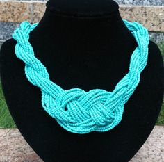 Cool Summer Turquoises Beaded Knot Statement by Favormaking, $20.00