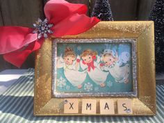 Shabby Chic Christmas Holiday Decoration Gift Whimsical Vintage Theme Gold Glittered Frame with Vintage Angels Christmas Card by OliveandTrixie on Etsy