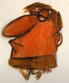 Man drawn onto cel    Artist: Len Glasser    (ca. late-1950s)