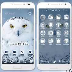 """""""Snowy Owl"""" 11/13 Bring this cute, cool owl to your smartphone! The fluffy fur is sure to melt your heart even in the cold winter season. http://app.android.atm-plushome.com/app.php/app/themeDetail?material_id=1366&rf=pinterest #cute #wallpaper #love #kawaii #design #icon #follow #beautiful #plushome  #homescreen #widget #deco #owl"""