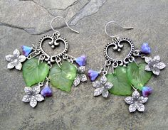 Small lavender Czech flowers and a pair of heart shape chandelier drops