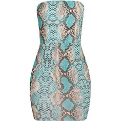 Kaddy Turquoise Snakeskin Bandeau Bodycon Dress ❤ liked on Polyvore featuring dresses, bandeau dress, sexy bodycon dresses, snake skin dress, sexy dresses and body con dresses