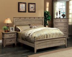 Amazon.com: Furniture of America Vine II Rustic Style Solid Wood Bed, Queen, Reclaimed Oak: Kitchen & Dining