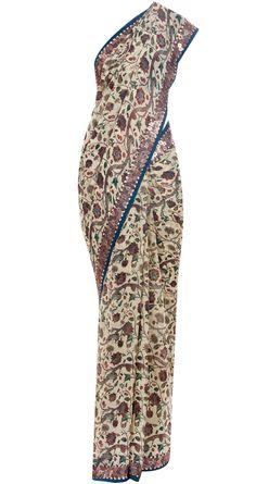 Offwhite printed sari by ANAMIKA KHANNA. http://www.perniaspopupshop.com/whats-new/anamika-khanna-off-white-printed-sari-ankc0913001.html