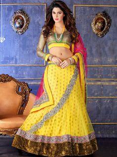 USD 76.34 Yellow Net Designer Lehenga Choli 43840