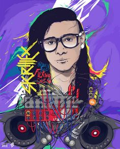 Portrait of the legendary monster Skrillex. It's a collaboration artwork with my good frie. My Name Is Skrillex Dubstep, Graphic Design Illustration, Illustration Art, Illustration Pictures, Color Photoshop, Music Artwork, Behance, Manga, Electronic Music