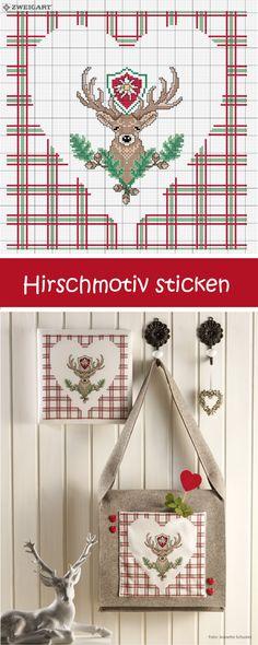 Schönes Hirschmotiv für eine Tasche für das Oktoberfest sticken #Sticken #Kreuzstich / #Hirsch #Oktoberfest ; #Embroidery #Crossstitch / #deer #octoberfest / #ZWEIGART