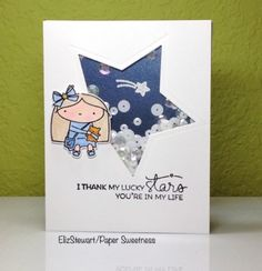 We are making clean & simple shaker cards this week at CAS on Sunday. I used one of my favorite characters from Mama Elephant for a lucky stars shaker. Astrology Stars, Mama Elephant, Lucky Star, Shaker Cards, Greeting Cards Handmade, Cas, Cardmaking, Sunday, Challenges