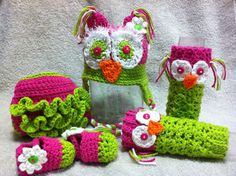 Crocheted owl set