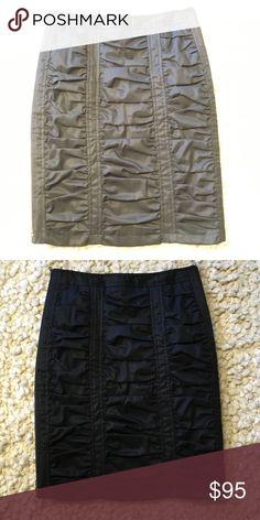NEW Black Nanette Lepore Skirt Black ruched Nanette Lepore skirt with side zippers.  New with tags attached.  Smoke free, pet free home. Nanette Lepore Skirts