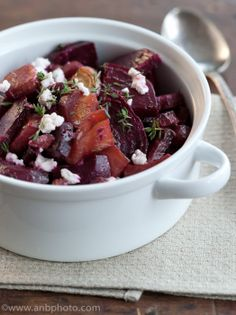 Roasted Beets and Goat Cheese. Ingredients: beets, fresh thyme, olive oil, balsamic vinegar, salt, black pepper, goat cheese. Takes about 45 minutes including prep time and baking for half an hour. (Beets are also good just roasting or boiling the beets whole, removing skins, slicing into medallions, and slathering goat cheese on. Two ingredients. Amazing combination. This recipe is why I like beets.)