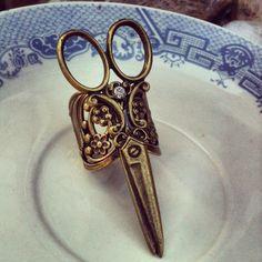 NEW scissor rhinestone ring antique bronze by AnnabellandLouise, $10.00