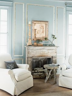 Cottage ♥ Living Room Love this pale blue paneling
