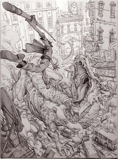 Amazing illustration that shows so many art skills: drawing from imagination, human anatomy, perspective, composition, story-telling Art And Illustration, Fantasy Kunst, Fantasy Art, Arte Complexa, Manga Art, Anime Art, Perspective Art, Poses References, Environment Concept Art